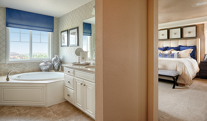 Master bedroom and bathroom of the Tracy floor plan