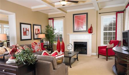 Family room with fireplace in the Vanderbilt floor plan