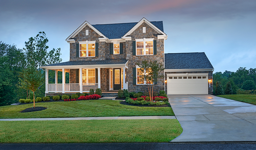 Exterior of new Warren floor plan model home