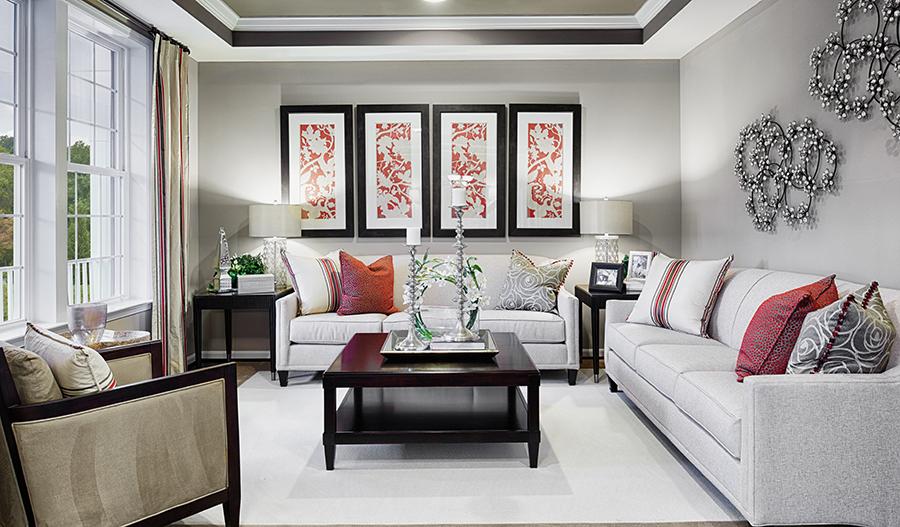 Living room of the Warren floor plan