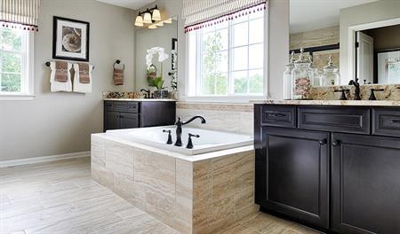 Master bathroom in Warren floor plan model home