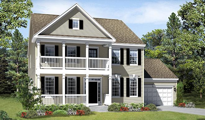 New home exterior B of the Warren floor plan
