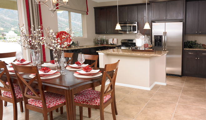 Kitchen and nook in the Whitman floor plan