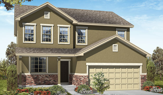 Exterior A of the Whitman floor plan in the Fox Hollow community